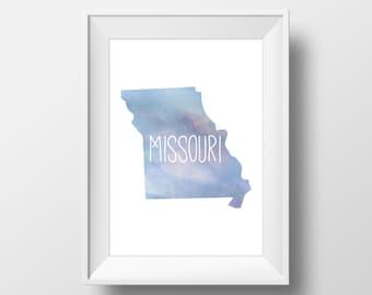 Missouri State Blue Watercolor Printable Art, Missouri Print, Missouri Art, Modern Art,