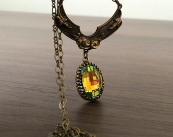 Crystal Necklace Swarovski Crystal Pendant Necklace Victorian Necklace Antique Gold Brass Bronze Vintage Necklace Swarovski Autumn Necklaces