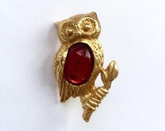 Vintage Avon Gold Owl Pin