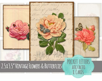 """Printable Pocket Letter Cards - 2.5x3.5"""" ATC, ACEO Cards - Vintage Flowers & Butterflies - Peony, Rose, Butterfly, Ladybug Collage Sheet"""