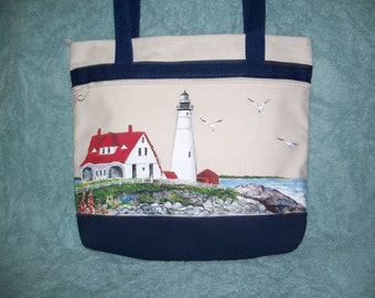 Hand painted Portland Head Lighthouse handbag