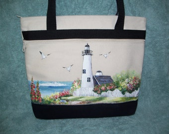 Hand painted lighthouse with fence handbag