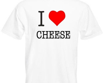 I Love Cheese Mens/Adults Novelty Tshirt - Gift/Present/Funny/Joke/Party/Fancy Dress