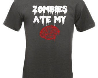 Zombie's Ate My Brain - Mens/Adults Novelty Tshirt - Funny/Joke/Gift/Present/Halloween/Zombie/Walking Dead