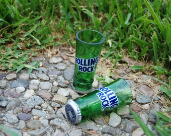 1 upcycled Rolling Rock shot glass