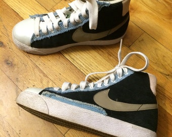 Vintage Nike Navy and Light Blue Corduroy High Top Sneakers