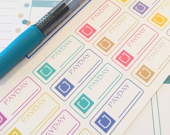 16 Uber PayDay Planner Stickers- Colorful Payday Reminder Stickers- perfect in your Erin Condren planner, wall calendar or scrapbook