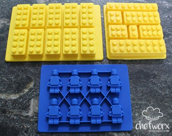 3 Pack Silicone Robot Men & Brick Molds for Molding Chocolate, Crayons, Ice Cubes, Soap, Candles