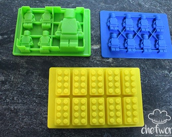 3 Pack Silicone Brick Molds (for making: chocolate, candy, crayons, soap, candles, ice cubes)