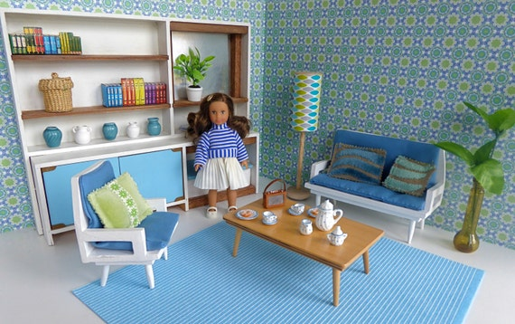 1960 39 S Living Or Sitting Room For Mini By Miniagdollhouserooms