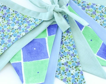 Fabric Flag Banner / Pennant / Bunting / Teal / Cornflower / Floral