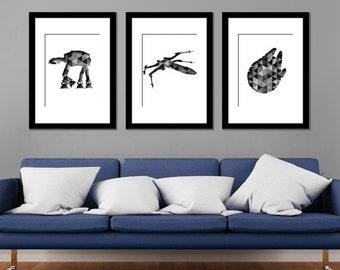 Star Wars Modern Art Prints - Set of 3