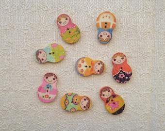 Set of 10 wooden matryoshka buttons assorted