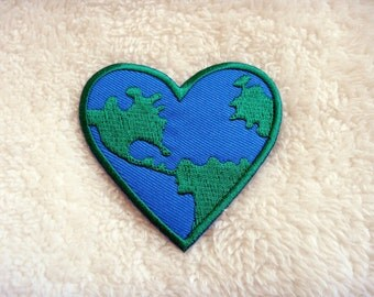 Love the Earth Heart Logo  DIY Applique Iron on Patch