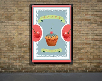 Sour Cherry Cupcake Birthday Card