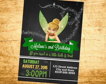 Tinkerbell Invitation - Tinkerbell Birthday Invitation 24 hour service