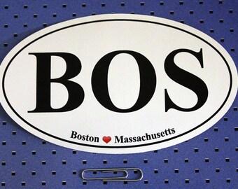 Boston Massachusetts (BOS) Oval Bumper Sticker