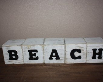 Rustic wood blocks- BEACH