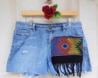 Denim Cut Off Shorts Embellished with Vintage Tribal Fabric