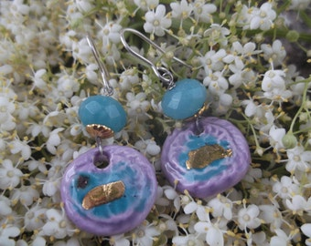third firing pottery earrings and Amazonite