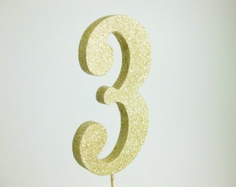 "5"" Gold Glitter Cake Topper Number"