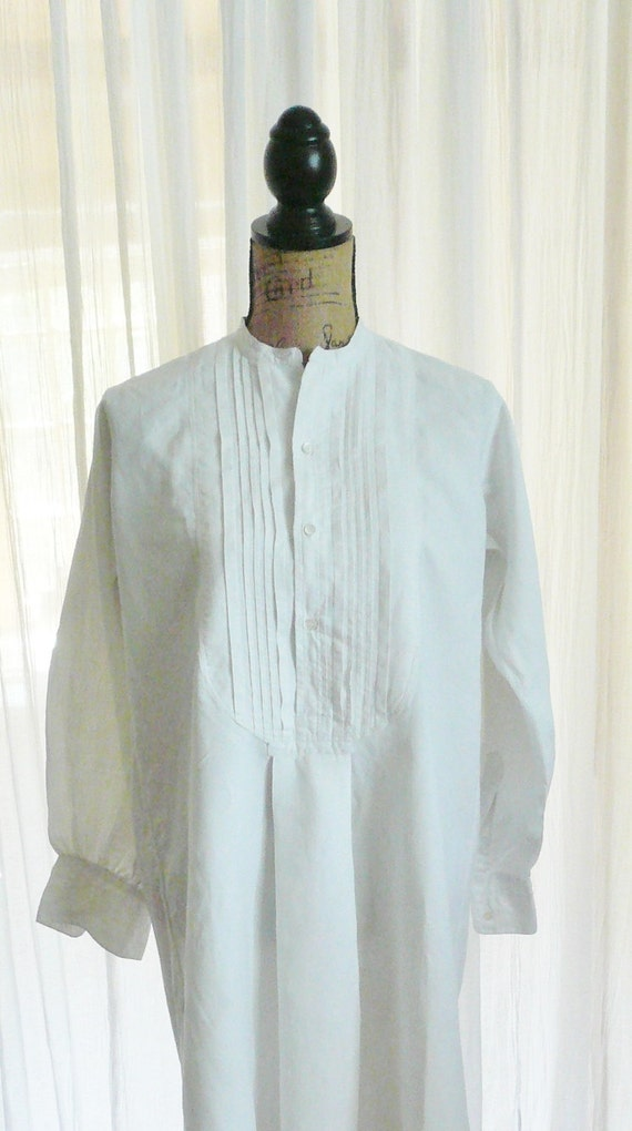 antique french shirt linen pintucked panelled front  dates