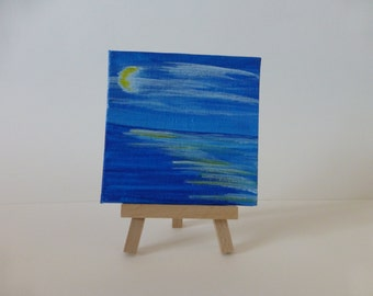 Original Abstract Night Ocean Mini Canvas