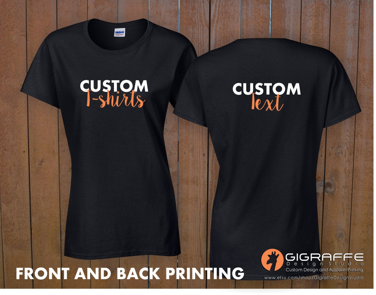 Custom t shirt printing custom t shirt front and back for Custom tee shirt printing