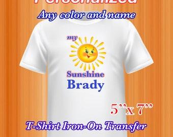 Sunshine Iron on Transfer, Sunshine Summer Shirt, Personalized, PDF