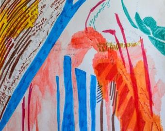Colorful Mixed Media Drawing