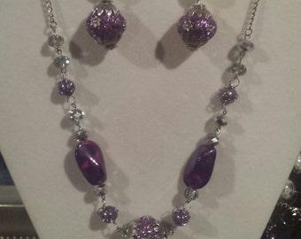 Purple Necklace/earring set