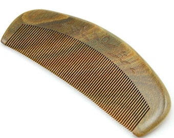 """Anti Static Natural Green Sandalwood Fine Tooth Comb, Pocket Wooden Comb 5"""" (12.5cm)"""