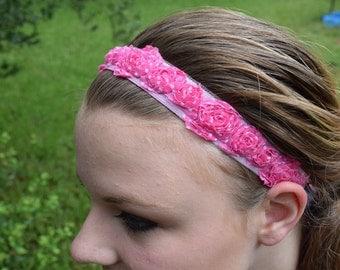 Non-slip Hot Pink Polka-Dotted Rosette Headband with velveteen backing