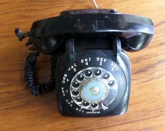 Black Rotary Phone - Vintage Rotary Phone - Black Phone