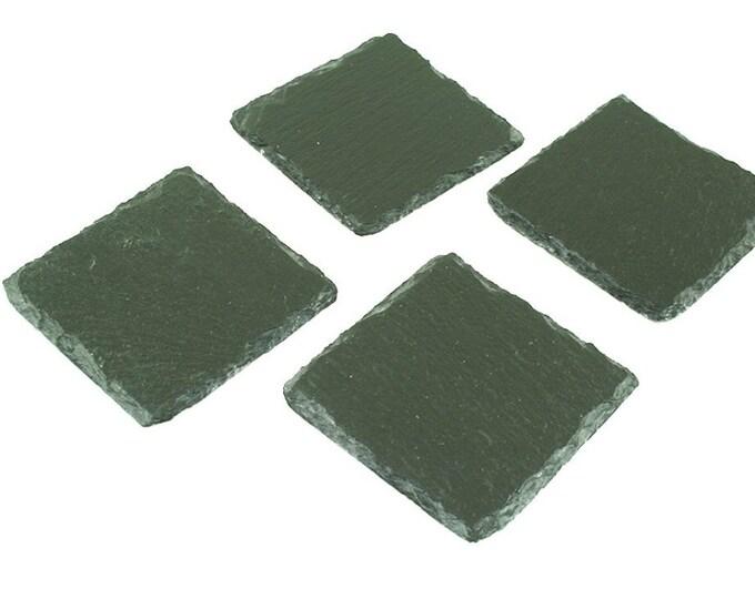 4 glass - coaster slate square, set, 4pcs, brim, rustic
