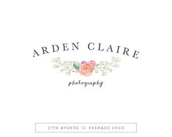 """Premade Logo Design - Watercolor Flowers Logo - Photography Logo - Boutique Logo - Small Business Logo - """"Arden"""" Deluxe"""