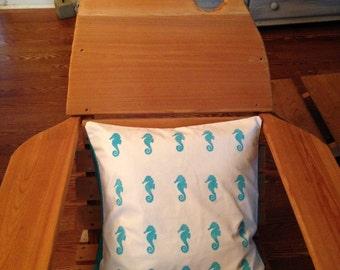 "Hand Painted Seahorse Decorative Pillow Case 18""x18"""
