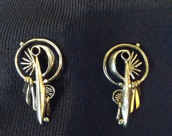 One of a Kind Sterling and Gold Earrings