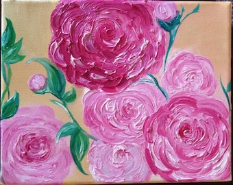 Pink Flowers Blooming Oil Painting art (print)