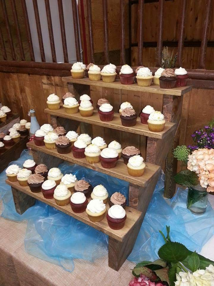 Rustic wood stair step cupcake stand for Cupcake stand plans
