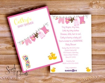 Baby Shower Clothes Line Invitation Digital