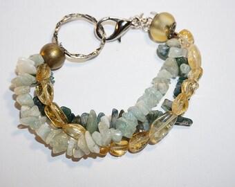 Healing Multi-Strand Citrine, Aquamarine Gemstone Bracelet