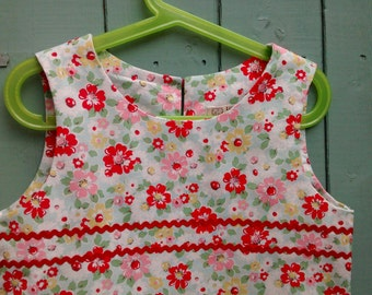 A line summer dress made from Cath Kidston floral with ric rac trim