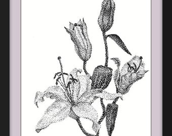 Lilies, Instant Download, flowers, pointillism, modern, original, digital print, black and white, home decor, Printable Wall Art, wall decor