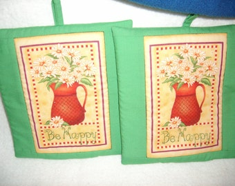 Be Happy Flower in Pitcher Potholders