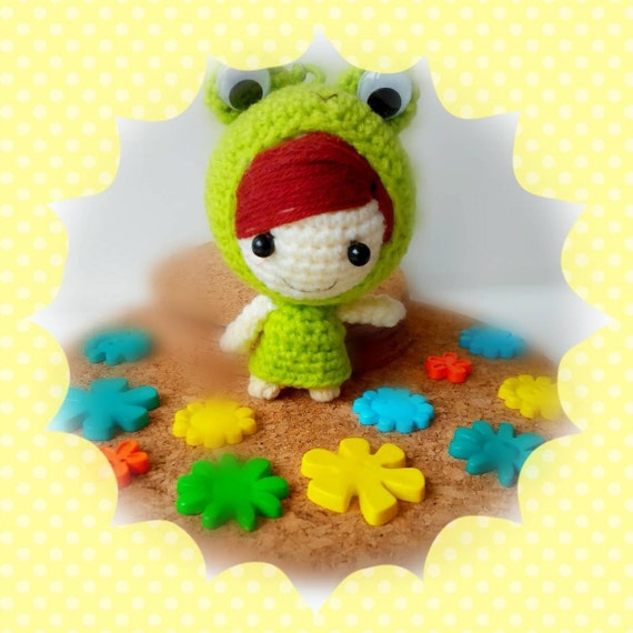 Amigurumi frog crochet doll custom keychain by ...