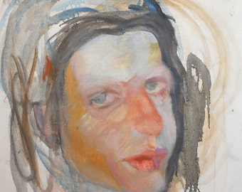 Expressionist woman portrait oil painting