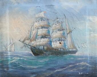 Vintage oil painting seascape signed