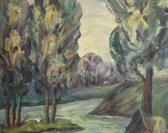 Vintage river landscape oil painting signed