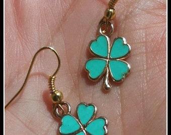 FairyLand Green Shamrock earrings handmade - FREE SHIPPING